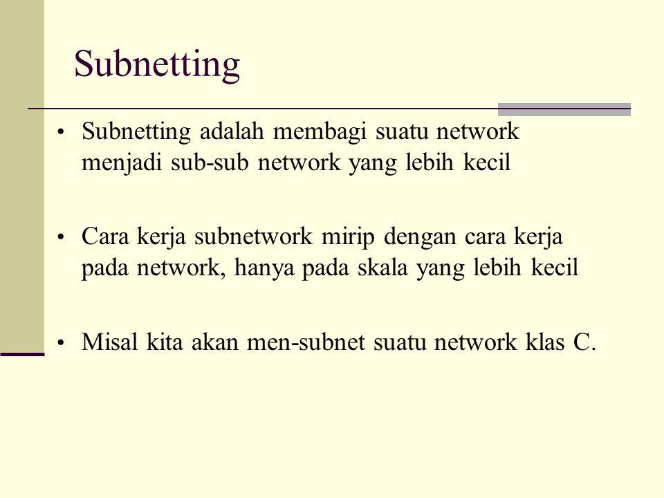 Subnetting Subnetting adalah membagi suatu network menjadi sub-sub network yang lebih kecil.