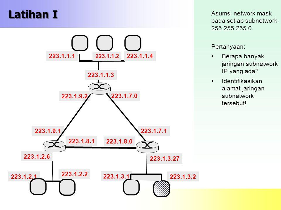 Latihan I Asumsi network mask pada setiap subnetwork 255.255.255.0