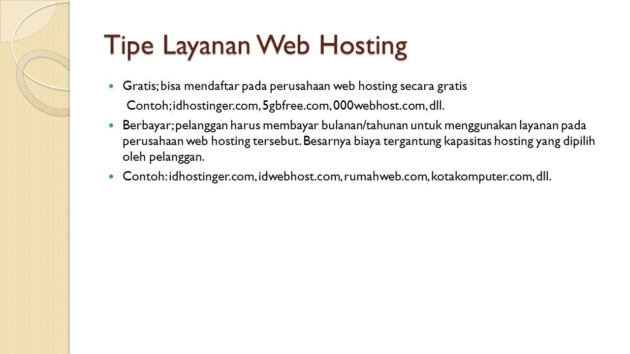 Tipe Layanan Web Hosting