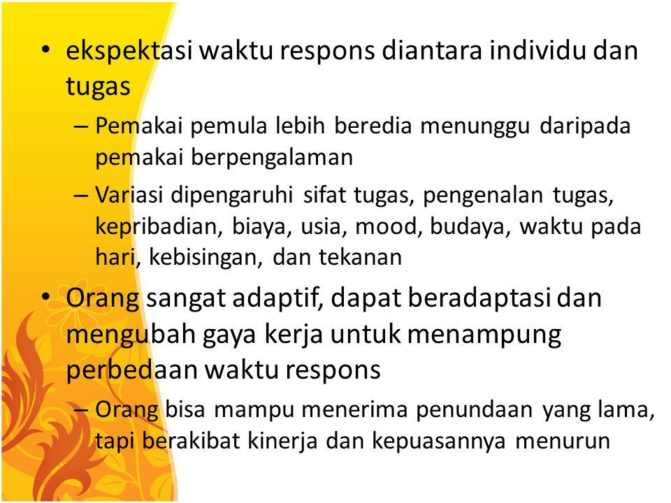 ekspektasi waktu respons diantara individu dan tugas