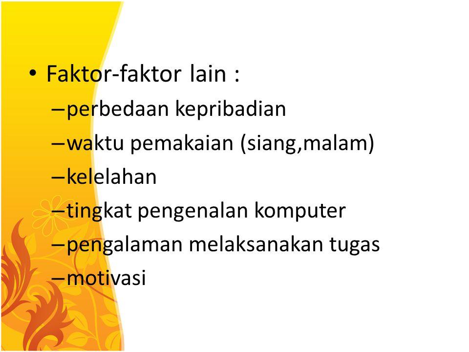 Faktor-faktor lain : perbedaan kepribadian