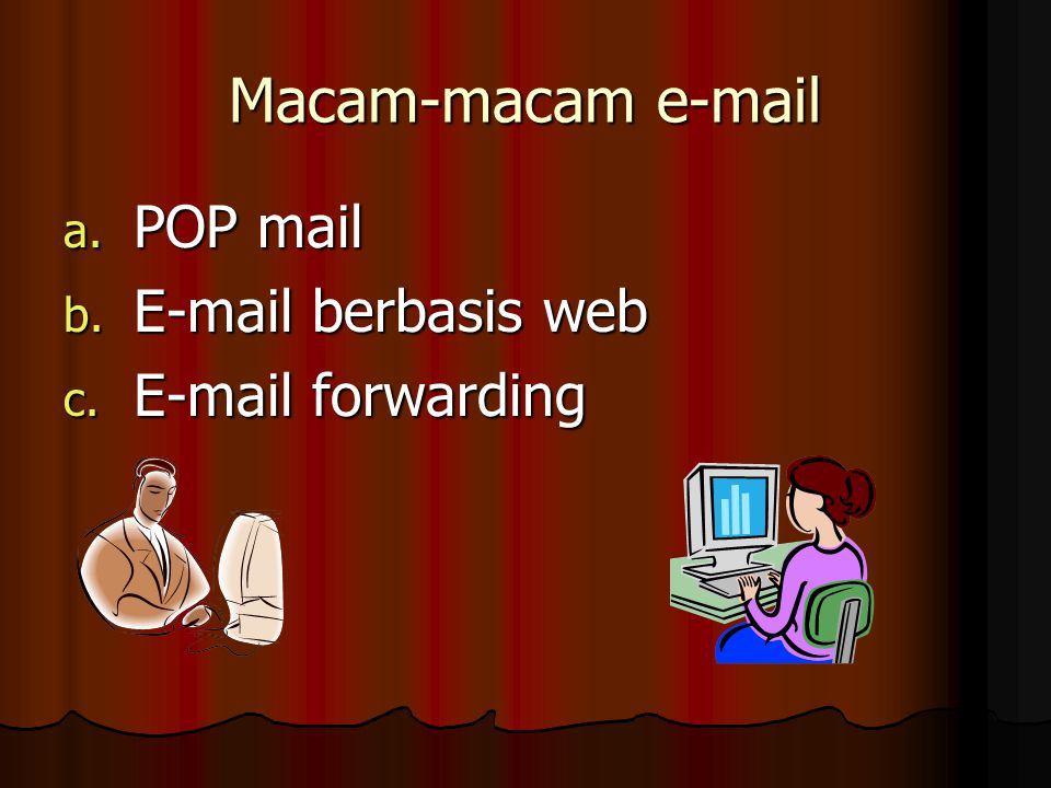 Macam-macam e-mail POP mail E-mail berbasis web E-mail forwarding