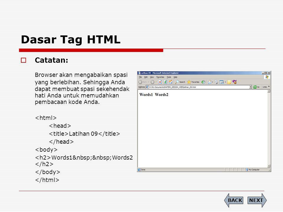 Dasar Tag HTML Catatan:
