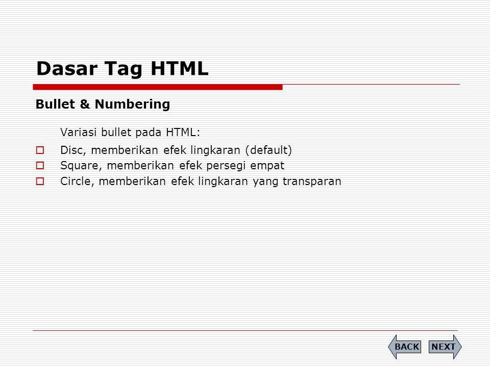 Variasi bullet pada HTML: