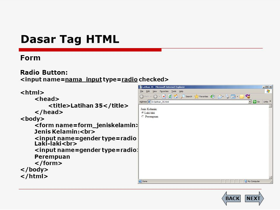 Dasar Tag HTML Form Radio Button: