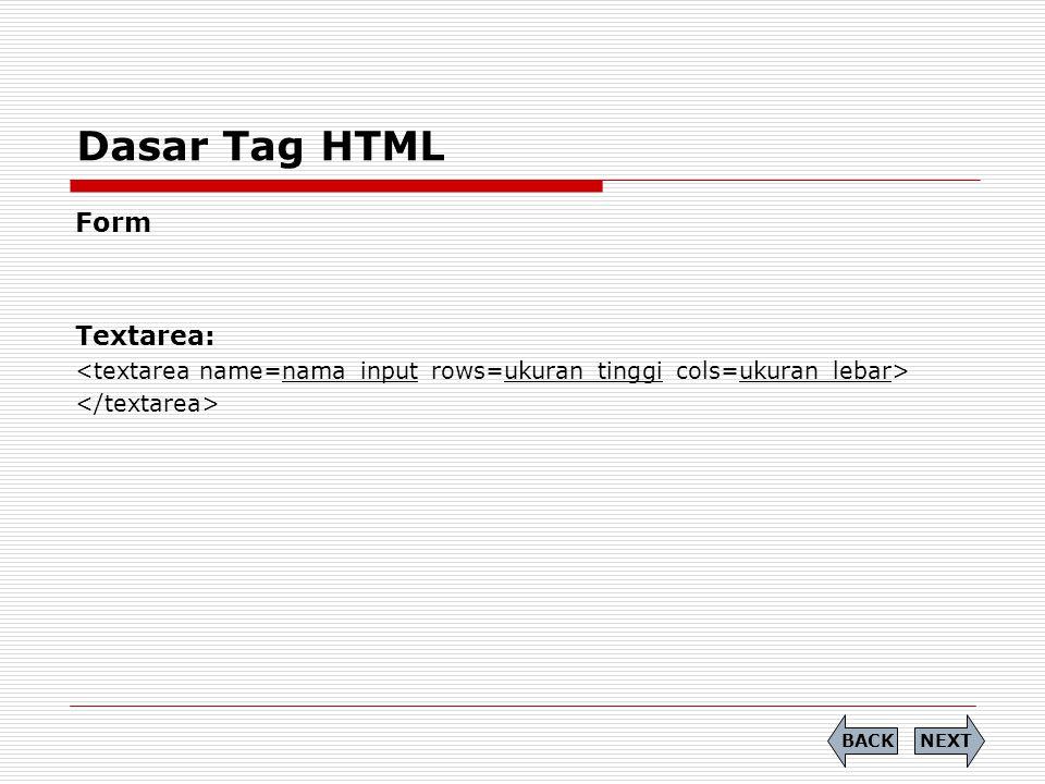 Dasar Tag HTML Form Textarea: