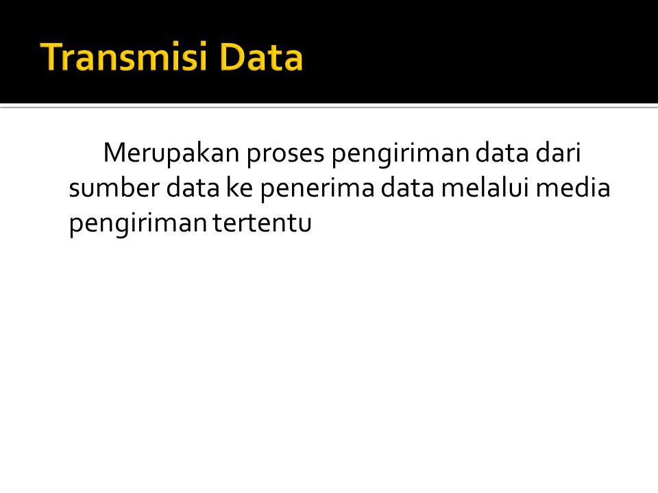 Transmisi Data Merupakan proses pengiriman data dari sumber data ke penerima data melalui media pengiriman tertentu.