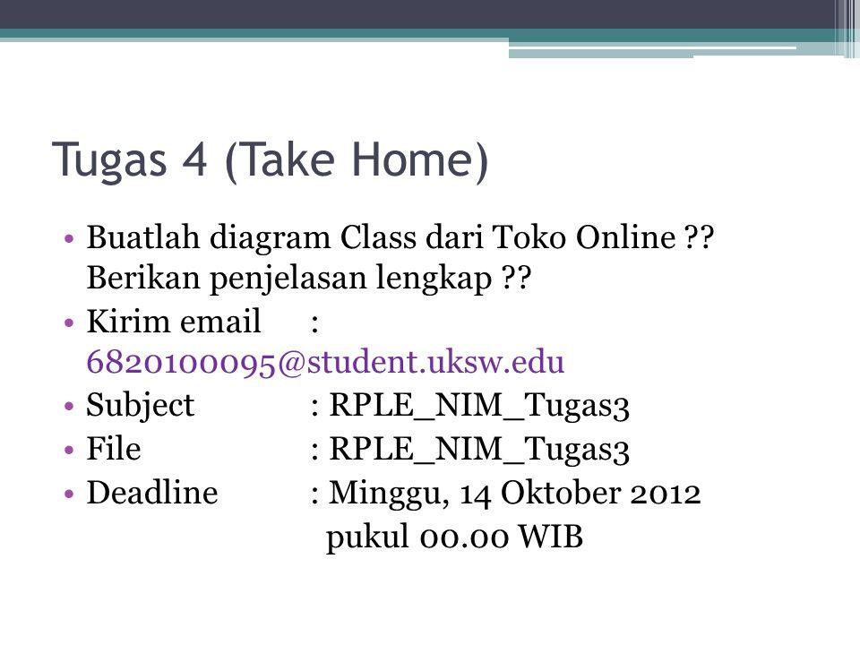 Tugas 4 (Take Home) Buatlah diagram Class dari Toko Online Berikan penjelasan lengkap Kirim email : 6820100095@student.uksw.edu.