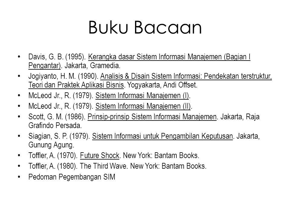 Buku Bacaan Davis, G. B. (1995). Kerangka dasar Sistem Informasi Manajemen (Bagian I Pengantar). Jakarta, Gramedia.