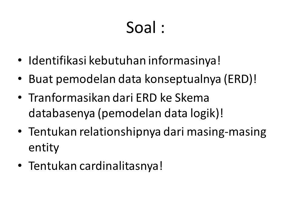 Soal : Identifikasi kebutuhan informasinya!