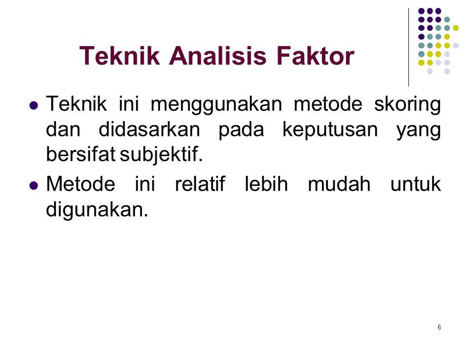 Teknik Analisis Faktor