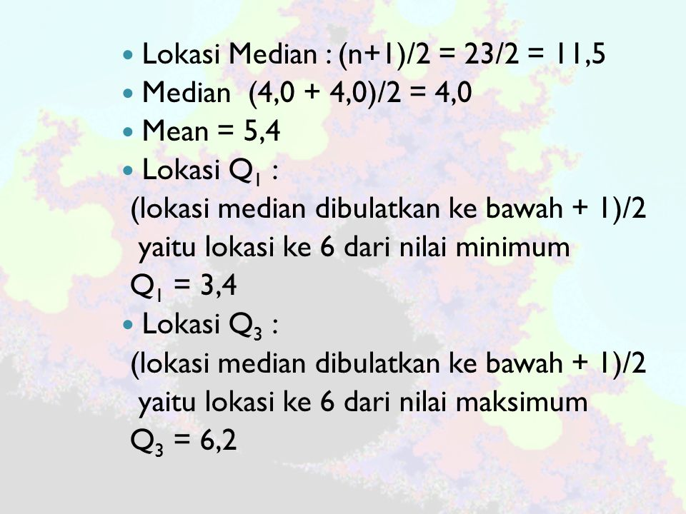 Lokasi Median : (n+1)/2 = 23/2 = 11,5