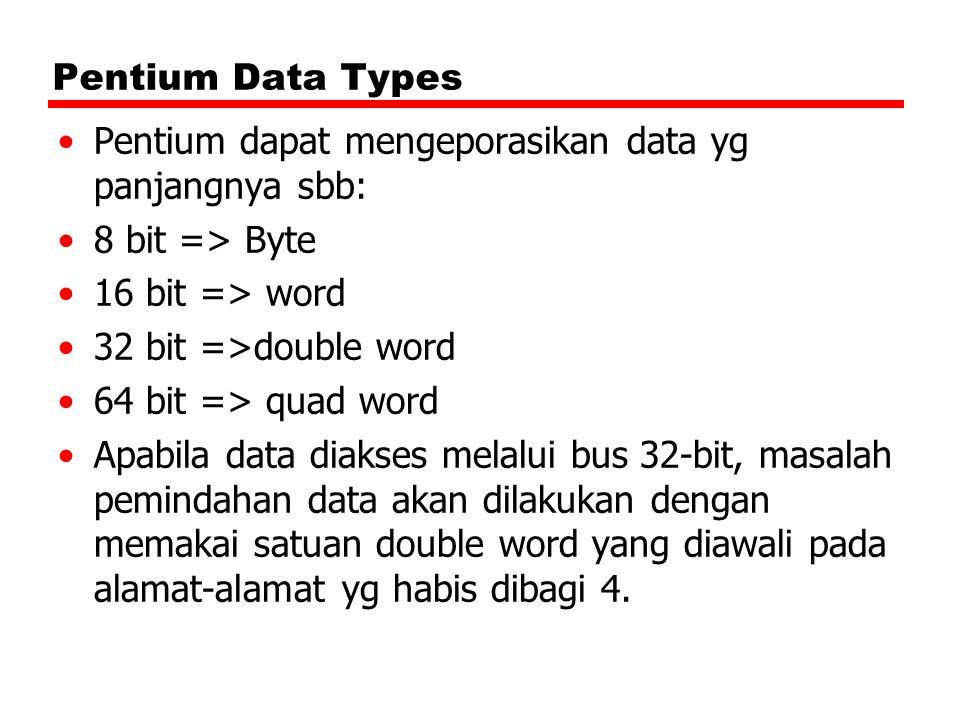 Pentium dapat mengeporasikan data yg panjangnya sbb: 8 bit => Byte