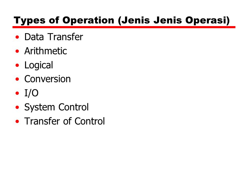 Types of Operation (Jenis Jenis Operasi)