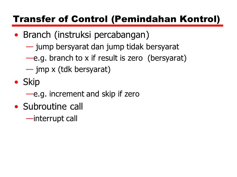 Transfer of Control (Pemindahan Kontrol)