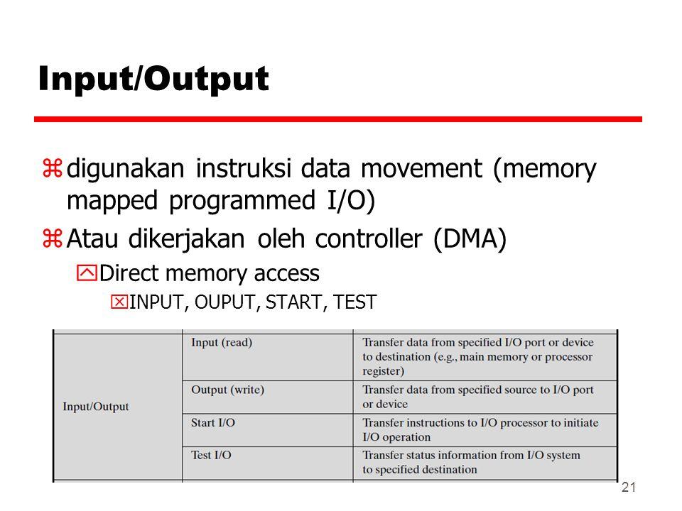 Input/Output digunakan instruksi data movement (memory mapped programmed I/O) Atau dikerjakan oleh controller (DMA)
