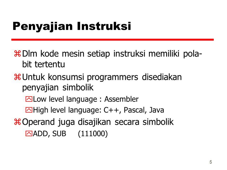 Penyajian Instruksi Dlm kode mesin setiap instruksi memiliki pola-bit tertentu. Untuk konsumsi programmers disediakan penyajian simbolik.