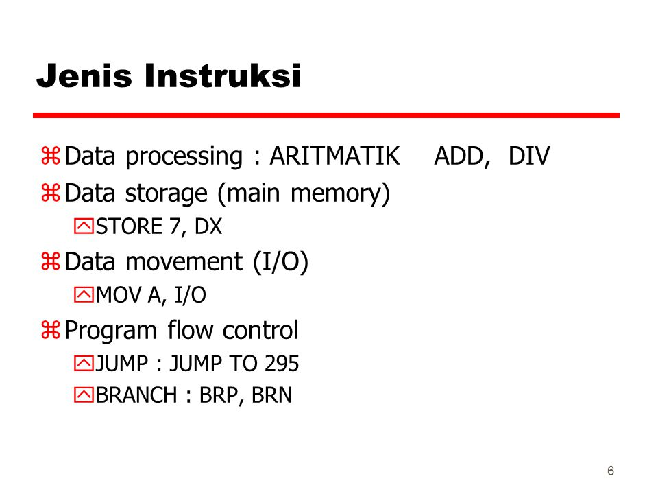 Jenis Instruksi Data processing : ARITMATIK ADD, DIV