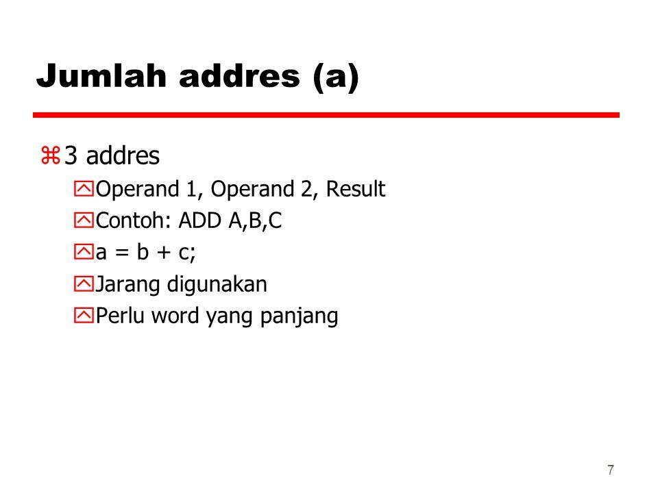 Jumlah addres (a) 3 addres Operand 1, Operand 2, Result