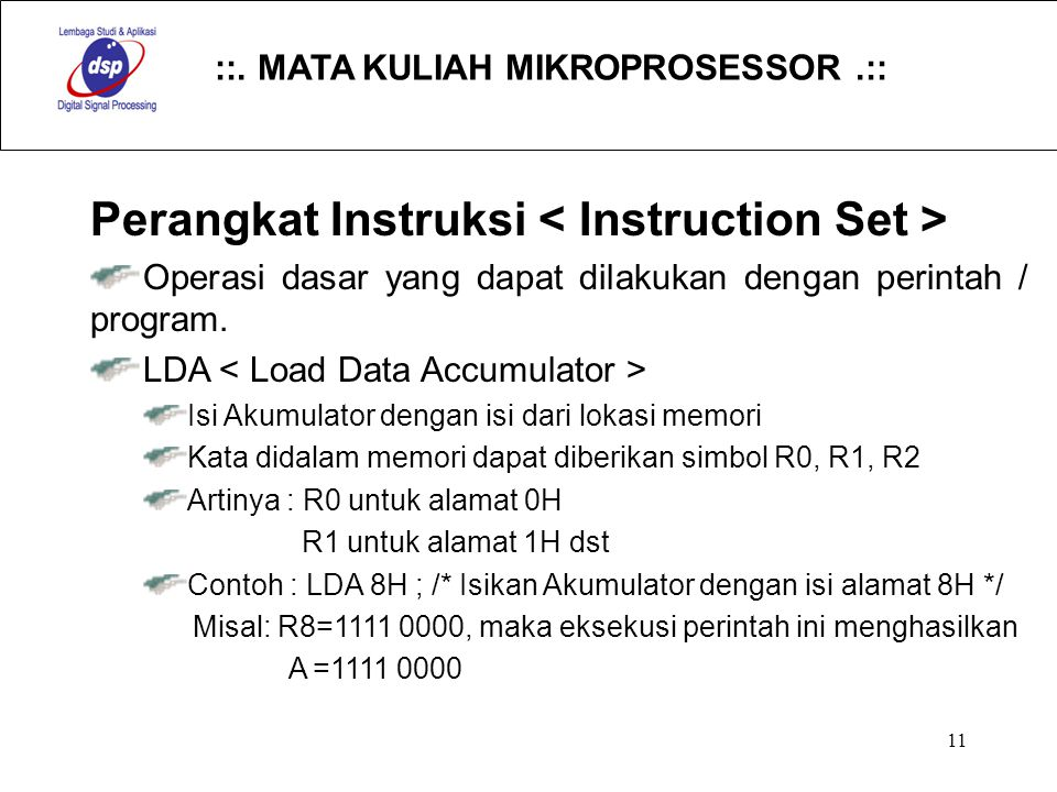 Perangkat Instruksi < Instruction Set >