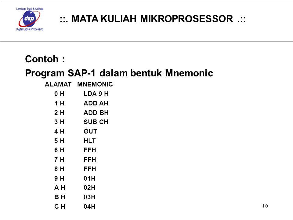 Program SAP-1 dalam bentuk Mnemonic
