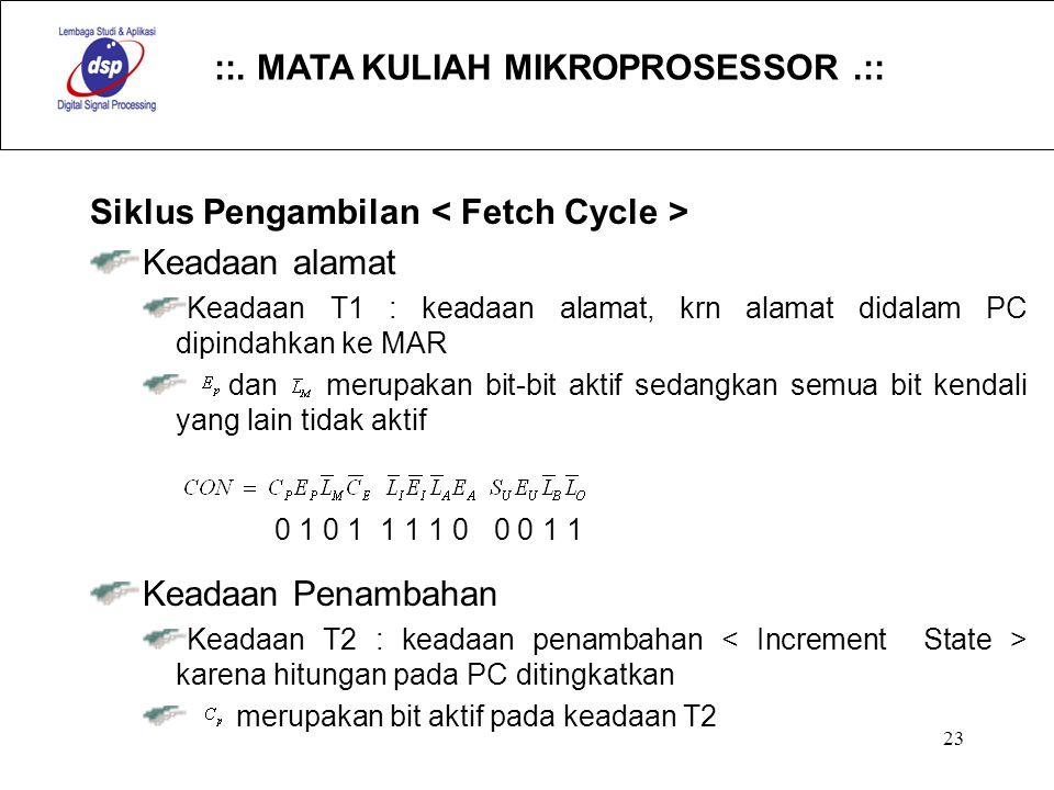 Siklus Pengambilan < Fetch Cycle > Keadaan alamat