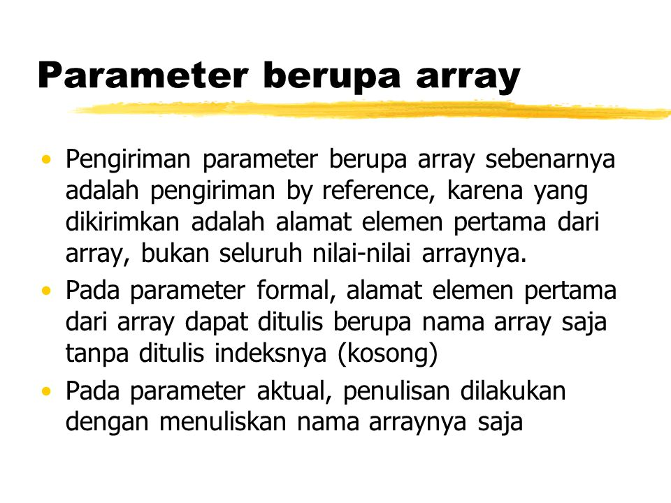 Parameter berupa array