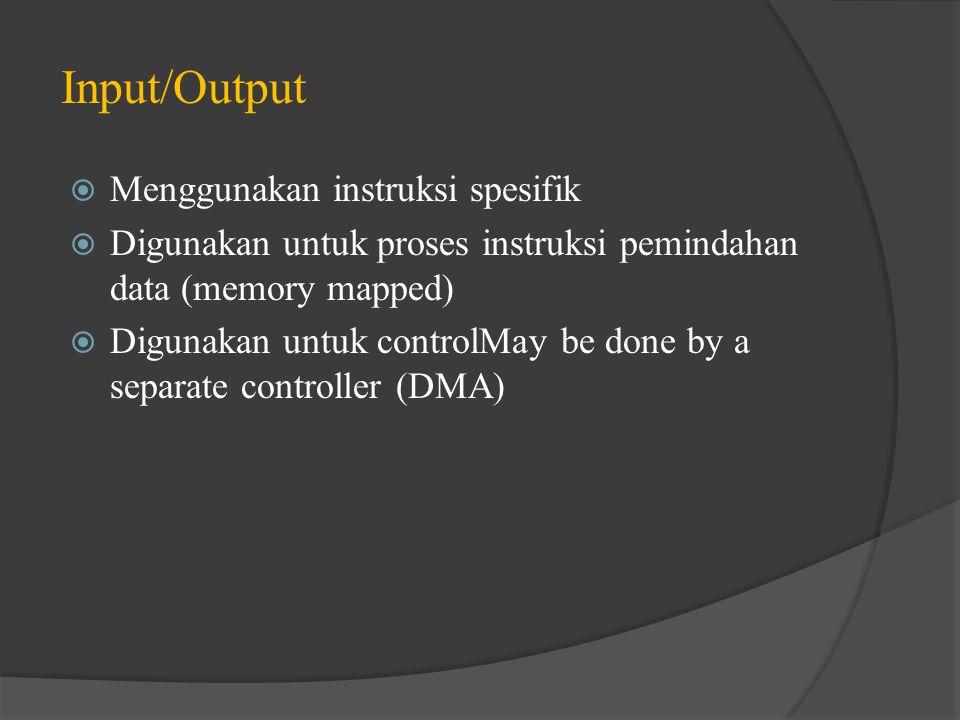 Input/Output Menggunakan instruksi spesifik
