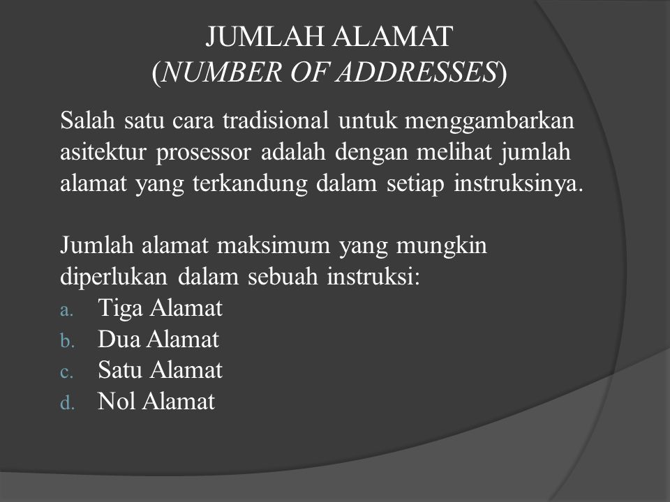 JUMLAH ALAMAT (NUMBER OF ADDRESSES)