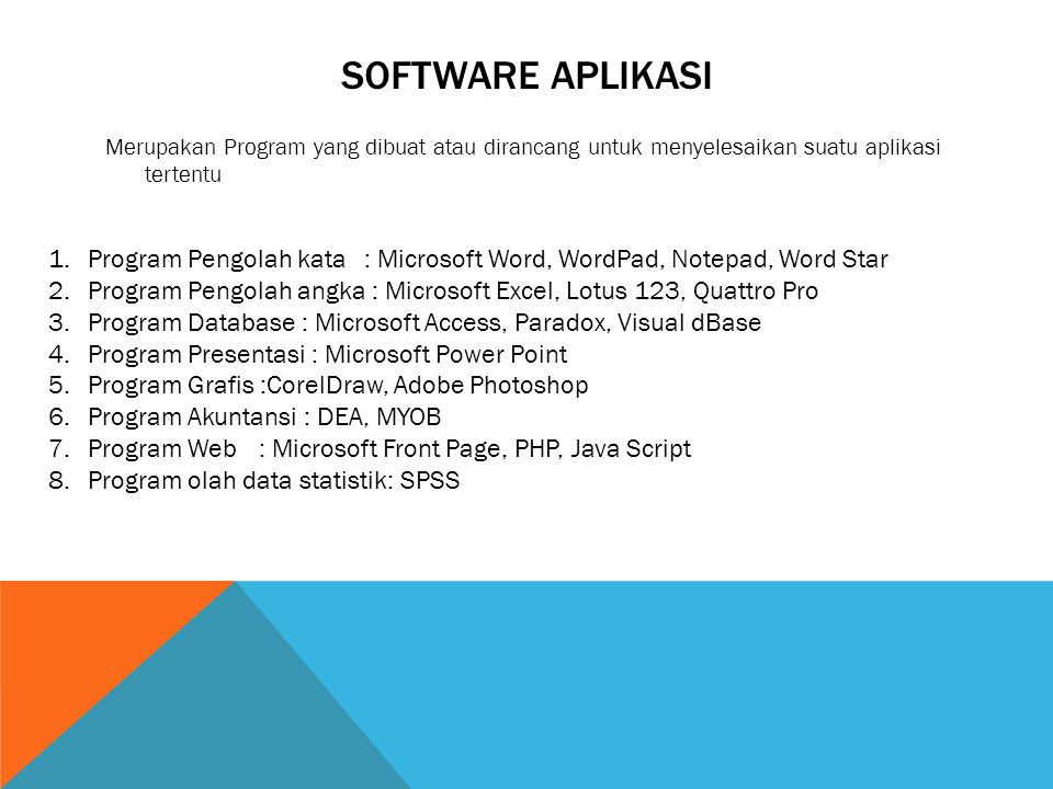 Software aplikasi Merupakan Program yang dibuat atau dirancang untuk menyelesaikan suatu aplikasi tertentu.