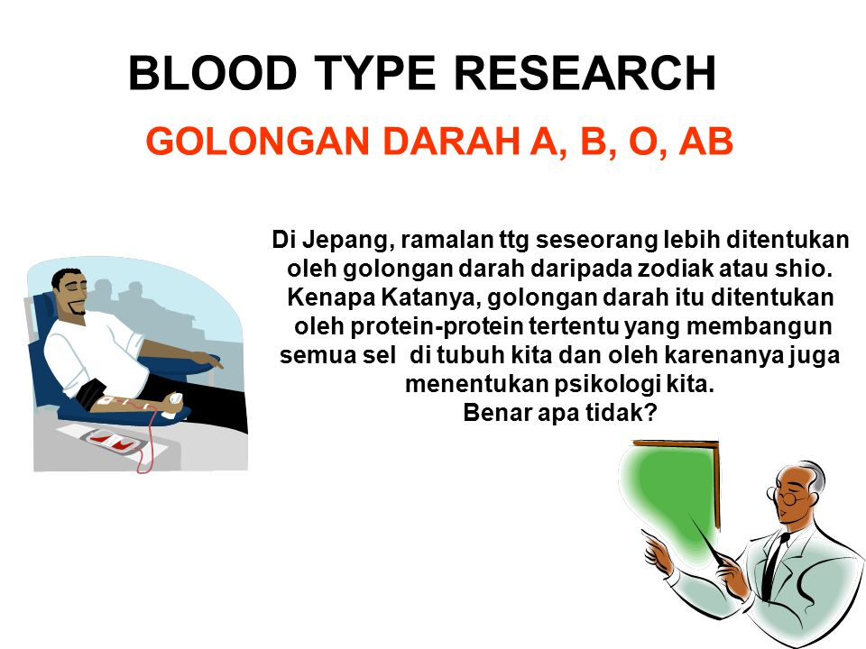 BLOOD TYPE RESEARCH GOLONGAN DARAH A, B, O, AB