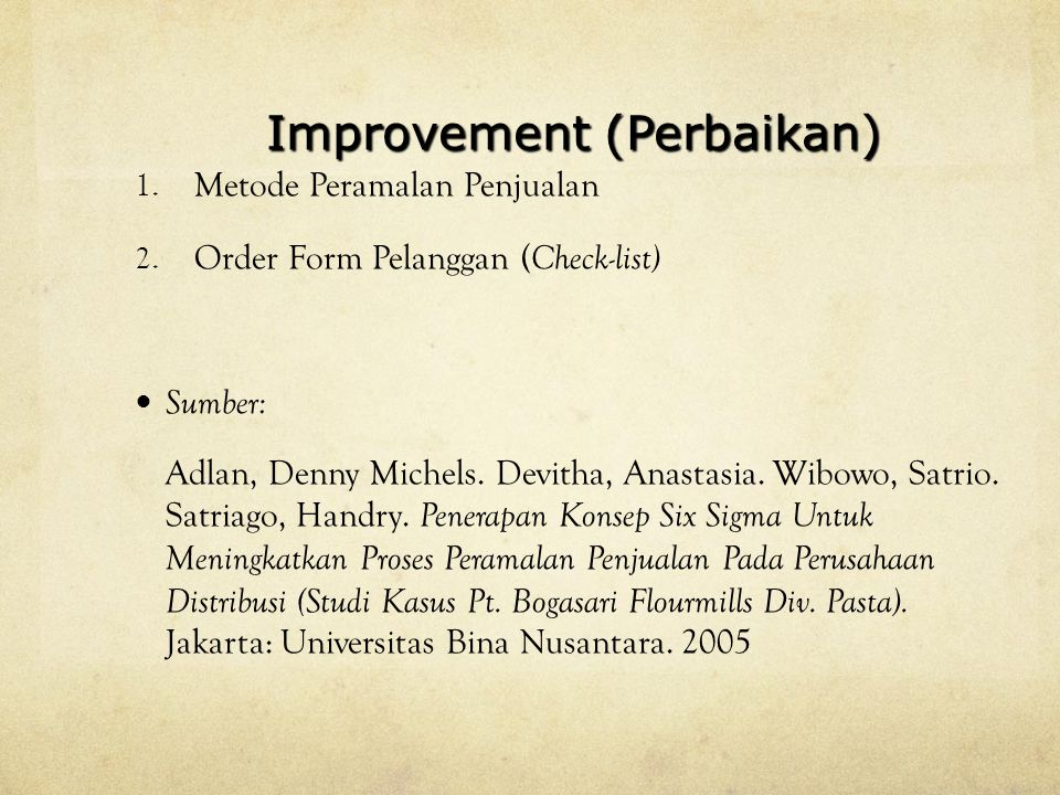 Improvement (Perbaikan)