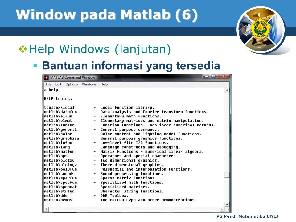 Window pada Matlab (6) Help Windows (lanjutan)