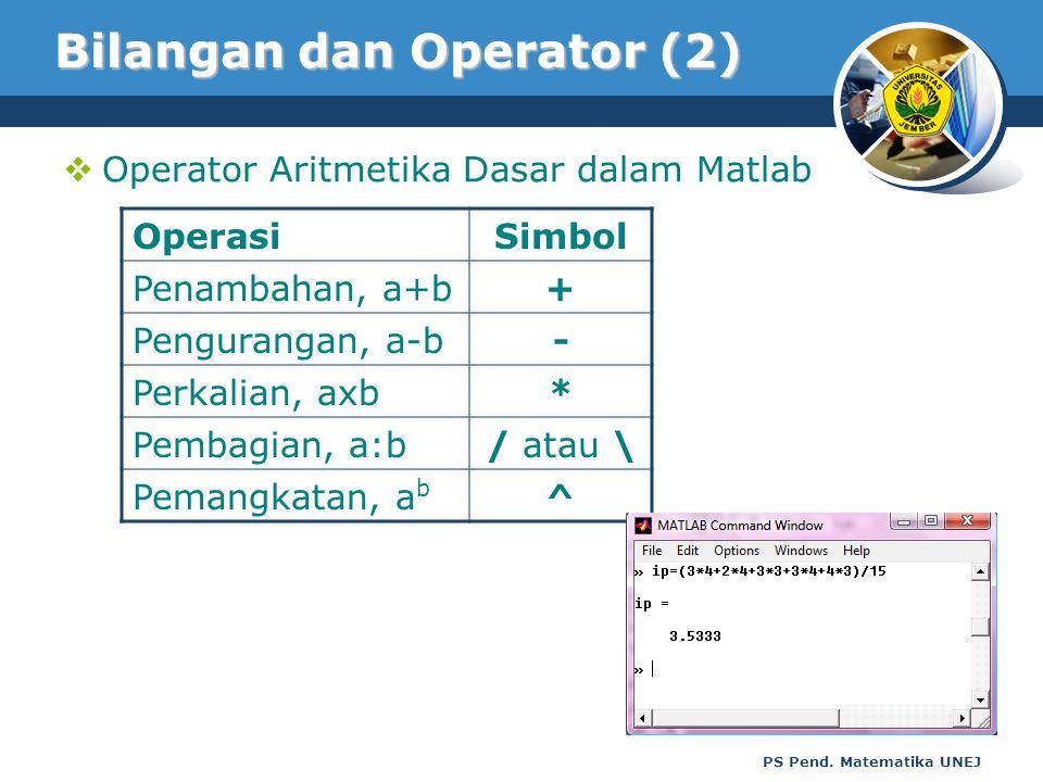 Bilangan dan Operator (2)