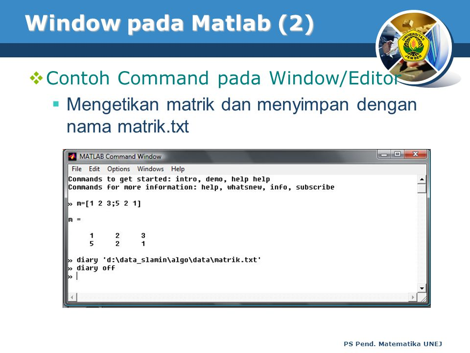 Window pada Matlab (2) Contoh Command pada Window/Editor