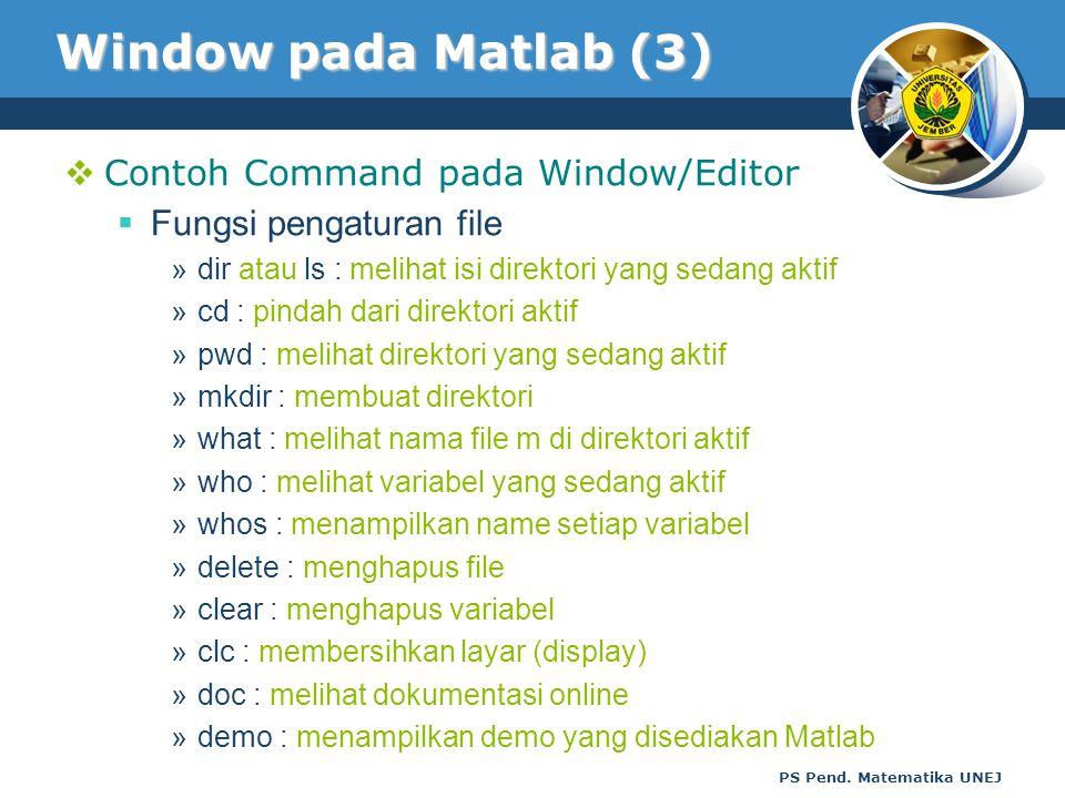 Window pada Matlab (3) Contoh Command pada Window/Editor