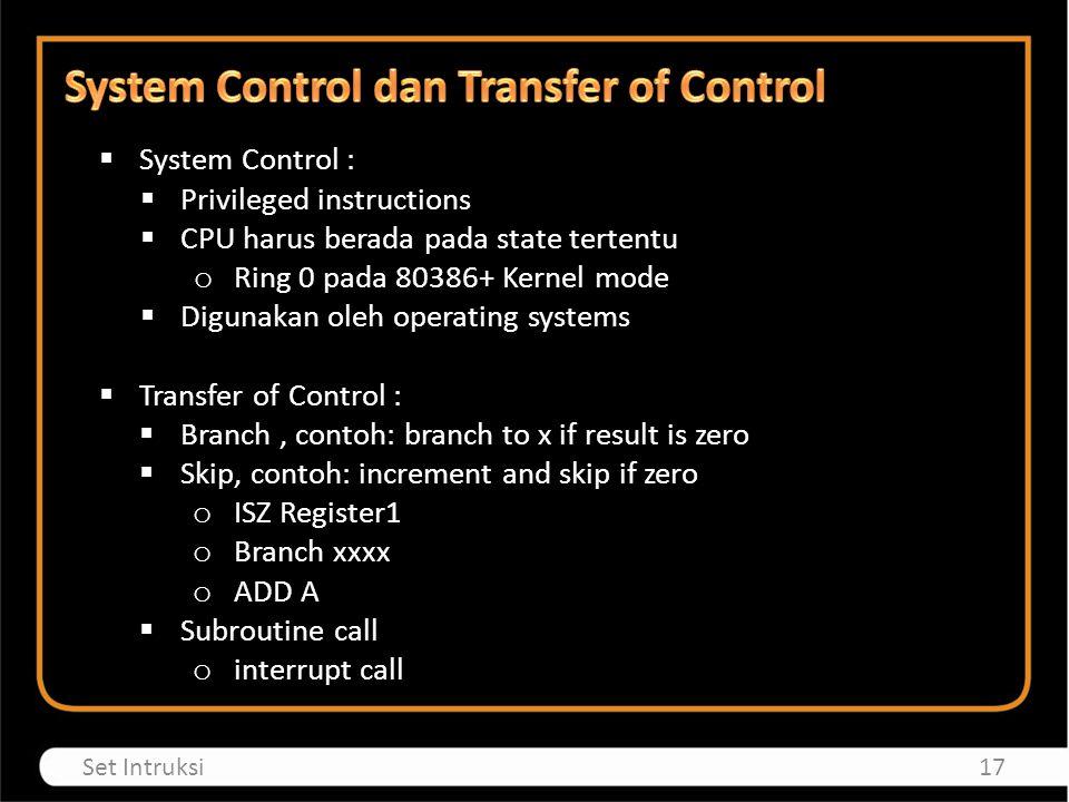 System Control dan Transfer of Control