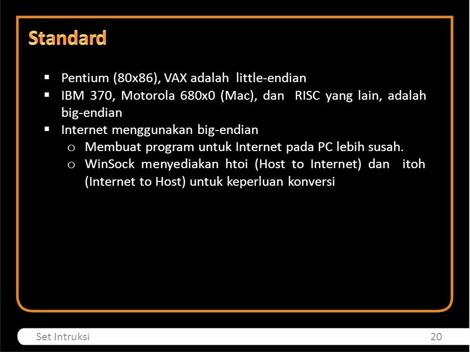 Standard Pentium (80x86), VAX adalah little-endian