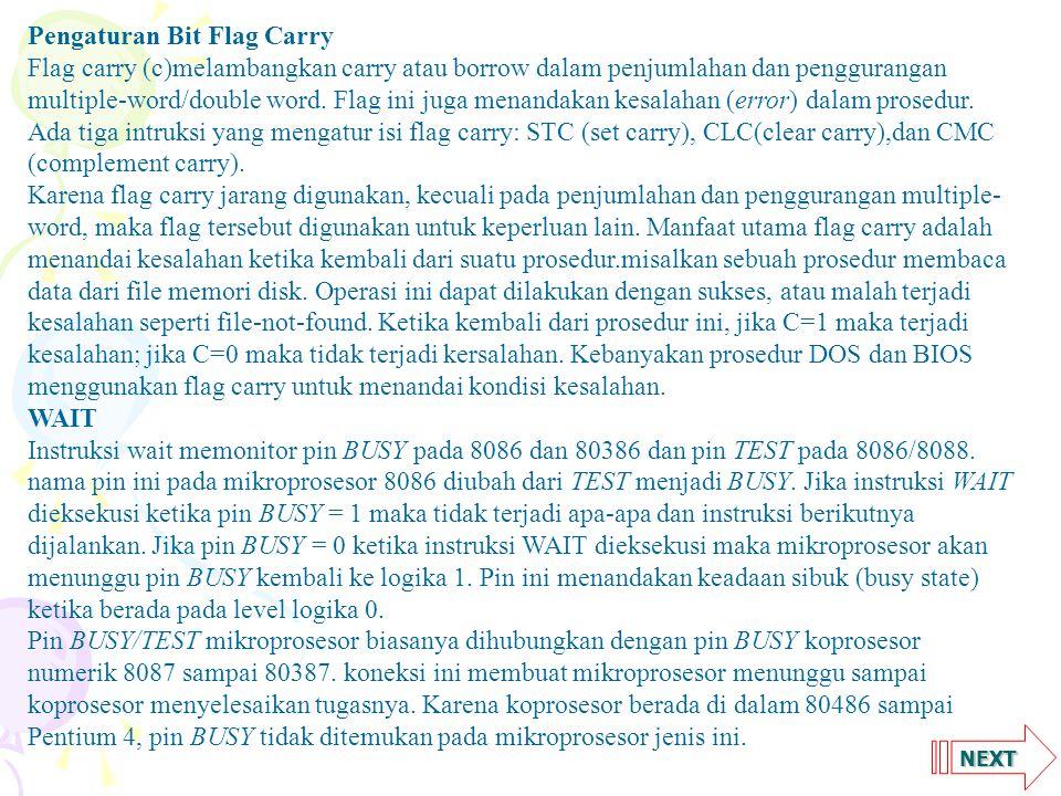 Pengaturan Bit Flag Carry
