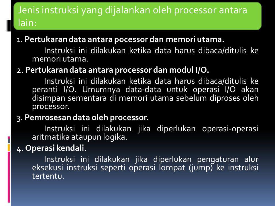 Jenis instruksi yang dijalankan oleh processor antara lain: