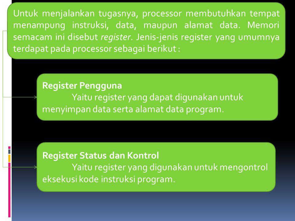 Untuk menjalankan tugasnya, processor membutuhkan tempat menampung instruksi, data, maupun alamat data. Memori semacam ini disebut register. Jenis-jenis register yang umumnya terdapat pada processor sebagai berikut :