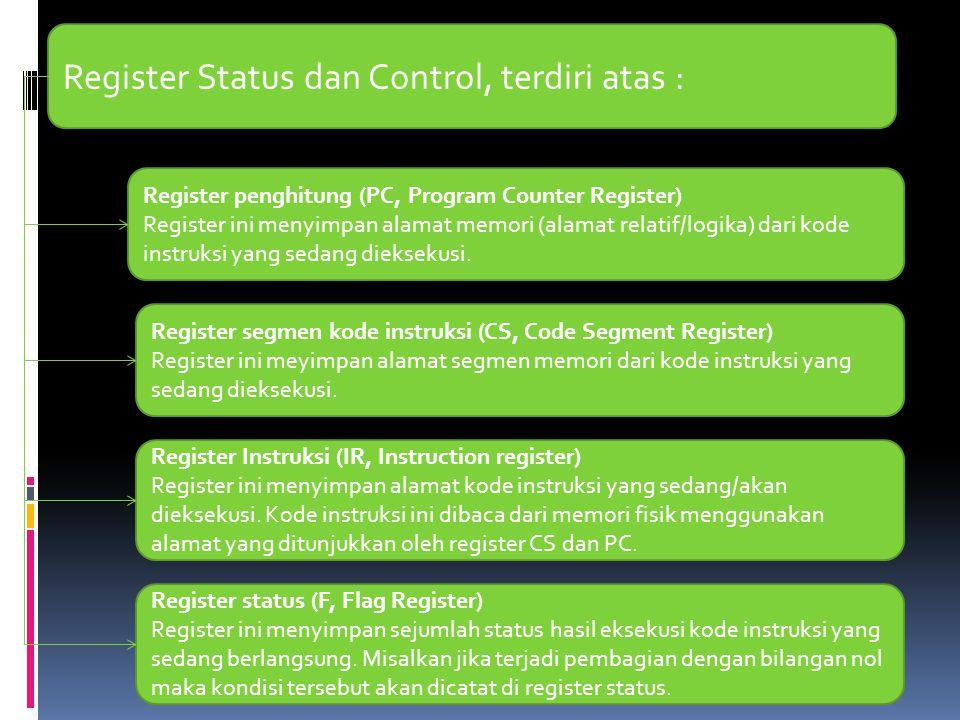 Register Status dan Control, terdiri atas :