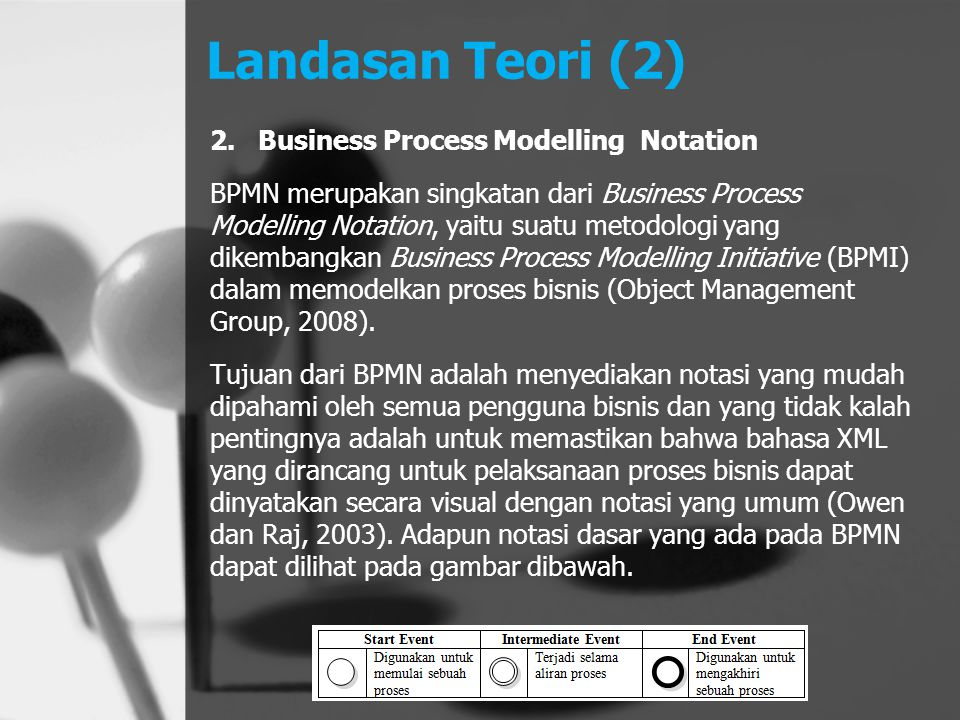 Landasan Teori (2) Business Process Modelling Notation