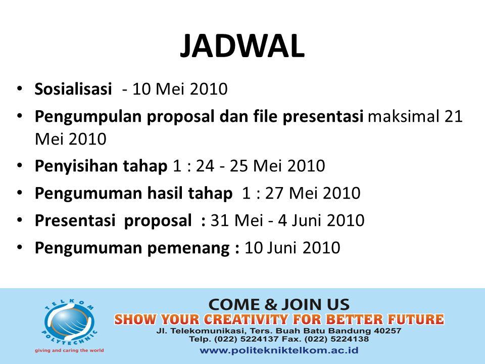 JADWAL Sosialisasi - 10 Mei 2010