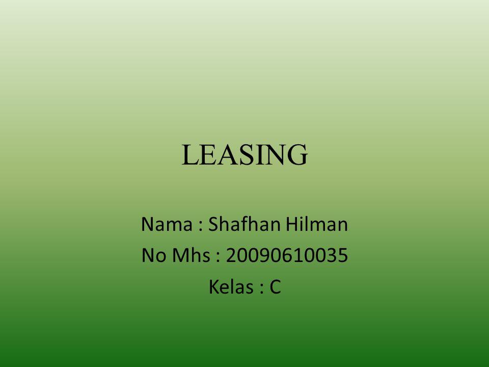 Nama : Shafhan Hilman No Mhs : 20090610035 Kelas : C