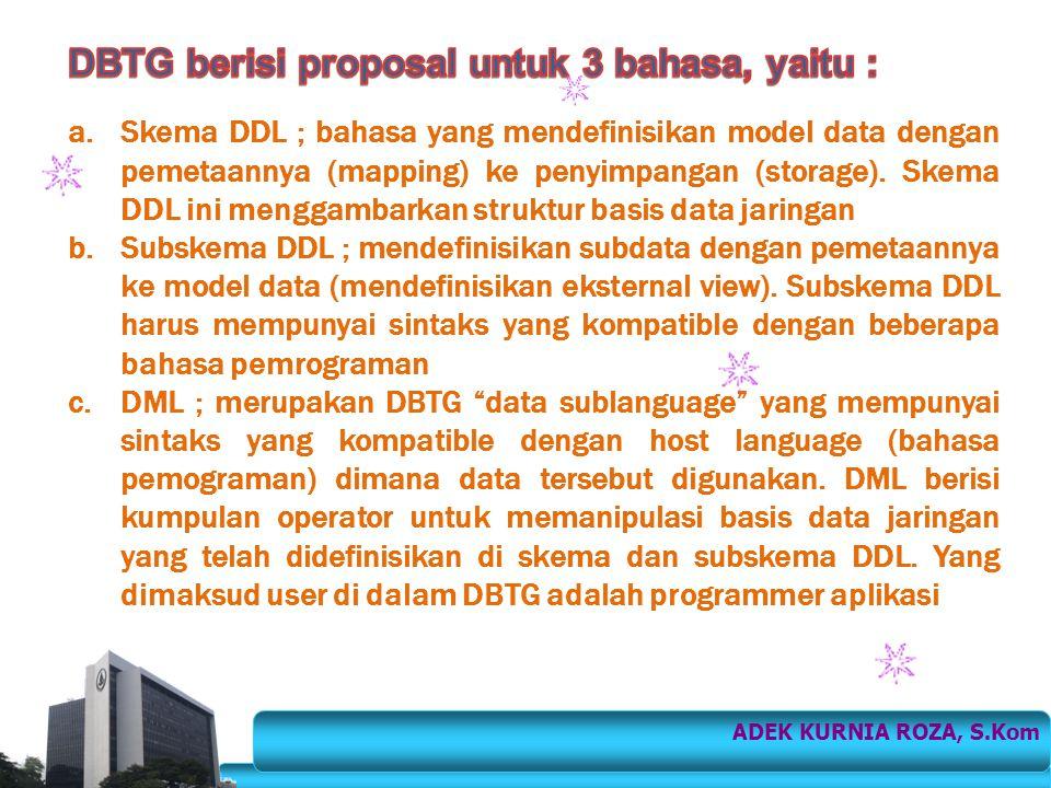 DBTG berisi proposal untuk 3 bahasa, yaitu :