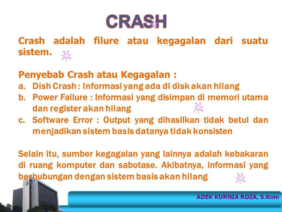 CRASH Crash adalah filure atau kegagalan dari suatu sistem.