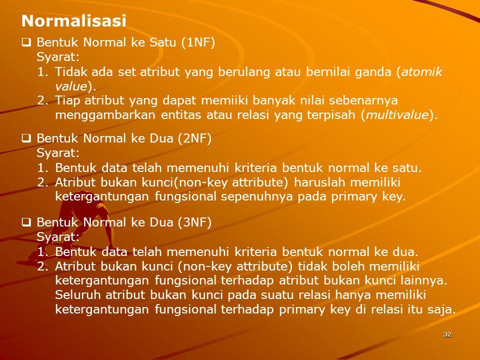 Normalisasi Bentuk Normal ke Satu (1NF) Syarat: