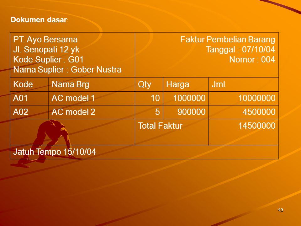 Nama Suplier : Gober Nustra Faktur Pembelian Barang Tanggal : 07/10/04