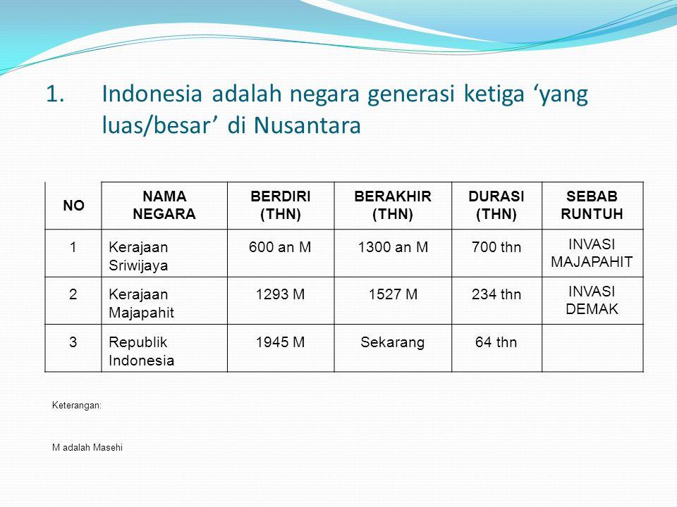 1. Indonesia adalah negara generasi ketiga 'yang luas/besar' di Nusantara